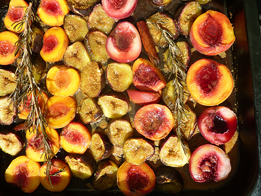 Rum Punch Roast Peaches and Figs with Toasted Hazelnut and Vanilla Crème Fraîche